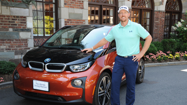 PGA TOUR Player Hunter Mahan Receives All-Electric BMW i3  After Scoring a Hole-in-One During the 2013 BMW Championship at Conway Farms Golf Club