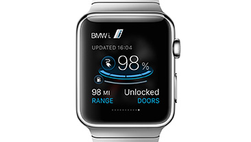 BMW ConnectedDrive and BMW i Remote app. World premiere: Apple Watch controls functions of BMW i models.
